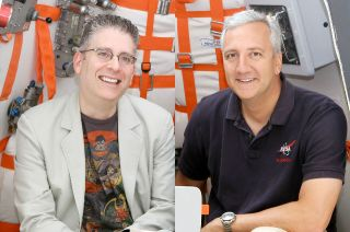 """""""The Big Bang Theory"""" co-creator Bill Prady (left) and former NASA astronaut Mike Massimino, seen here seated in the sitcom's Soyuz spacecraft set, have reunited to develop a new comedy."""