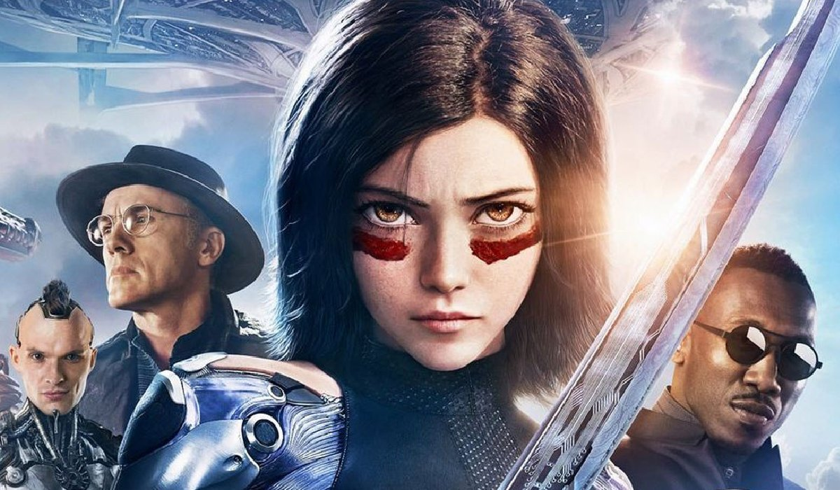 Alita: Battle Angel cast lineup in front of the bright sky