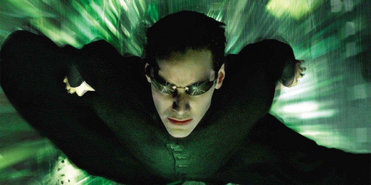 Keanu Reeves flying as Neo