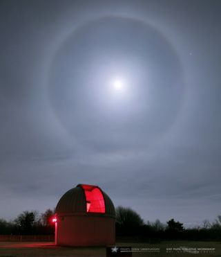 Lunar Halo Over Frosty Drew Observatory