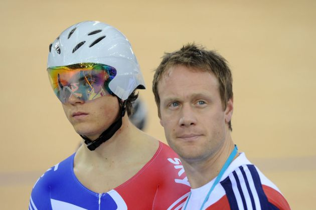 Ben Swift and coach Dan Hunt, London Track World Cup 2012, day two