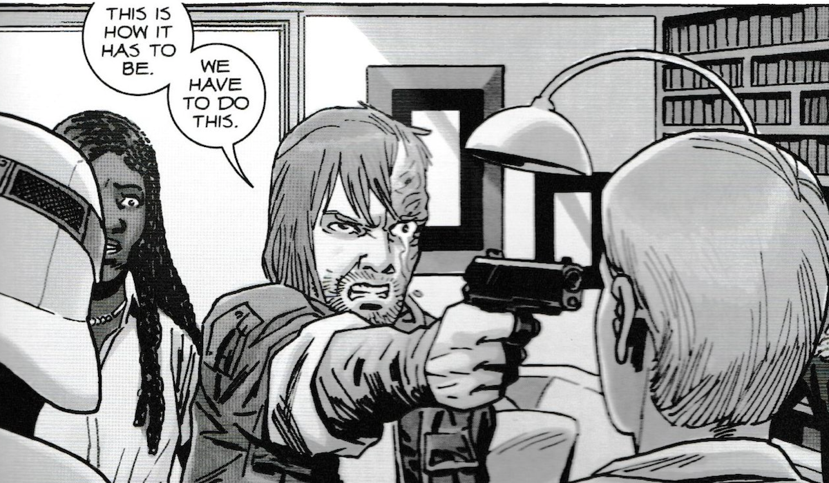 the walking dead comic dwight pulling gun on pamela