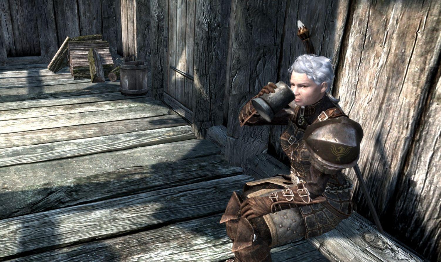 Shirley enjoys a drink in Skyrim