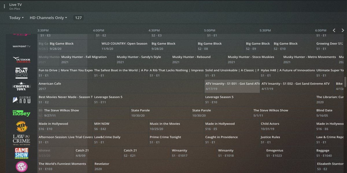 A portion of the channel guide on Plex Live TV