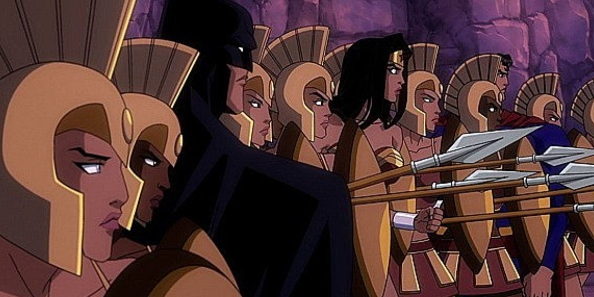 Batman, Wonder Woman, Superman, and Amazon Warriors in Superman/Batman: Apocalypse