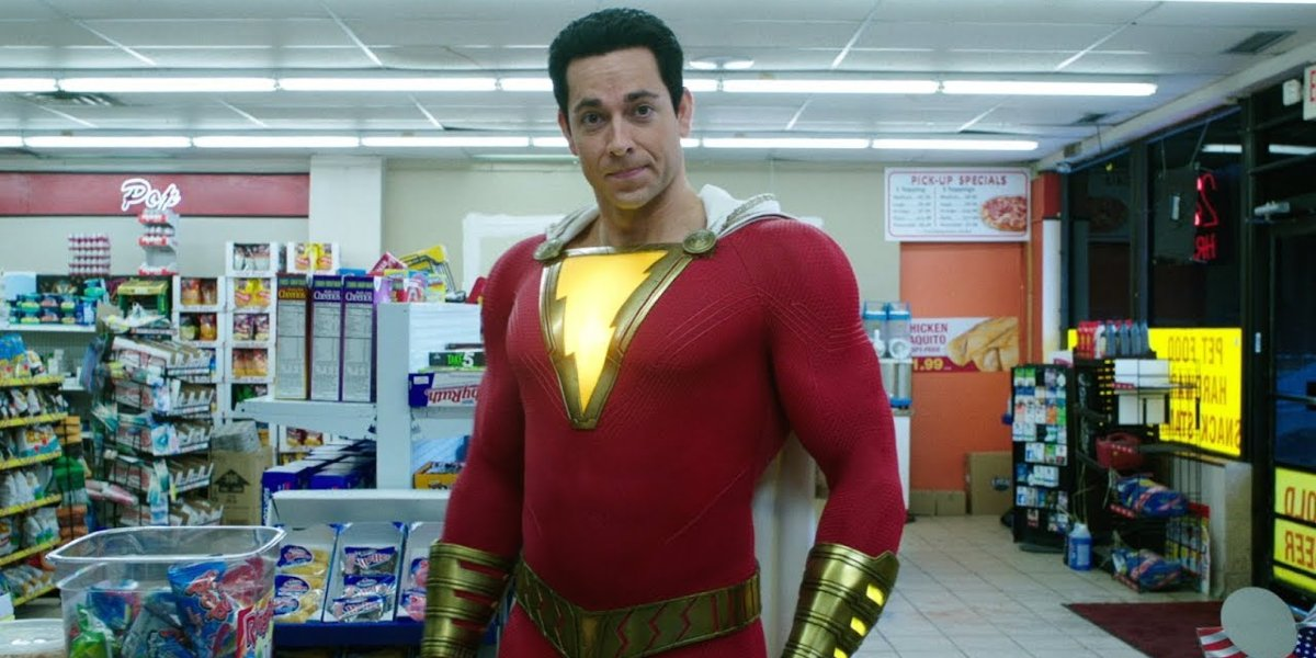 Zachary Levi stands confidently in the convenience store in Shazam!