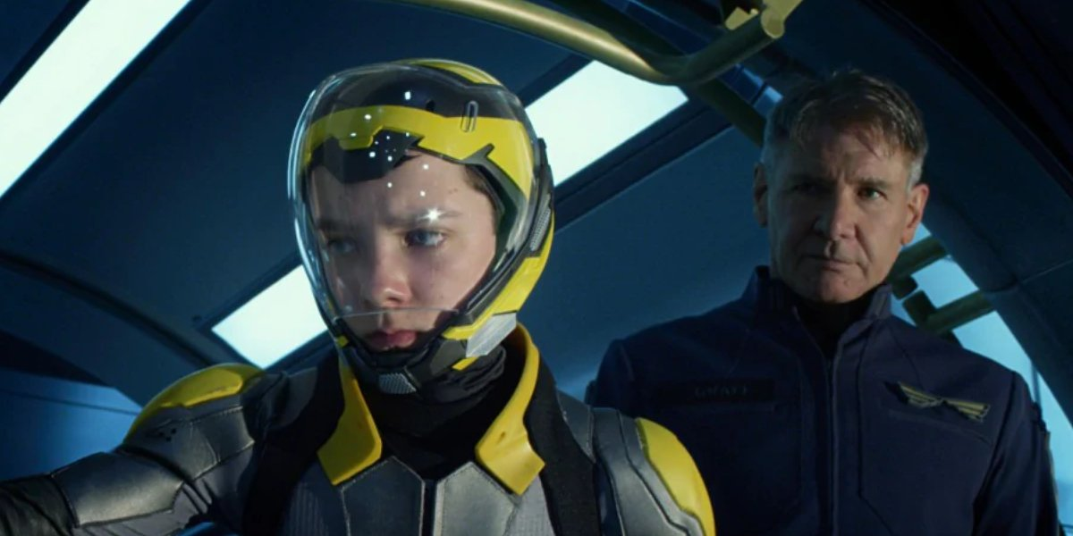 Asa Butterfield and Harrison Ford in Ender's Game