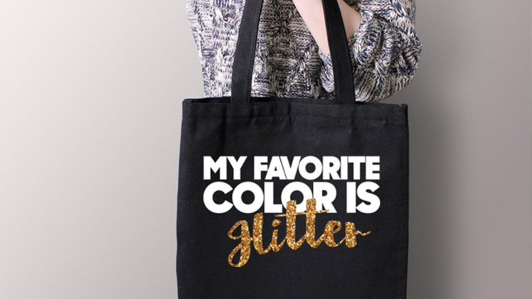 Tote bag that says 'my favorite color is glitter (but looks like it says 'Hitler')