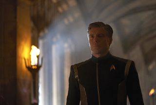 "Pike (Anson Mount) gets a hard look at the future in the ""Star Trek: Discovery"" episode ""Through the Valley of Shadows."""