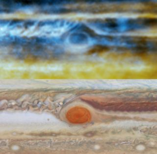 Blue and gold radio view of Jupiter matching up with visible-light view