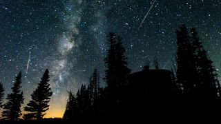 Perseid meteor shower with the Milky Way galaxy