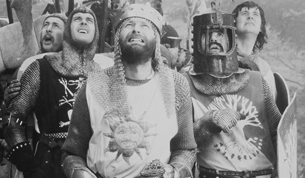 Monty Python and the Holy Grail King Arthur and his knights look up