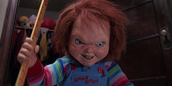 Child's Play 2 Chucky about to give a teacher the ruler