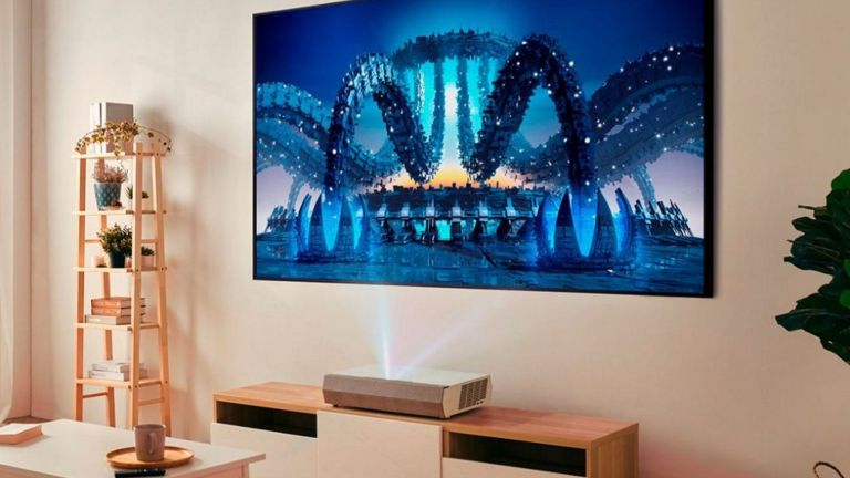 best projector: Optoma Cinemax P2 projector movie on wall in living room