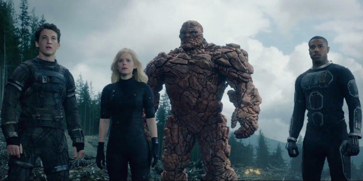 Miles Teller, Kate Mara, Jamie Bell, and Michael B. Jordan in the 2015 reboot of Fantastic Four