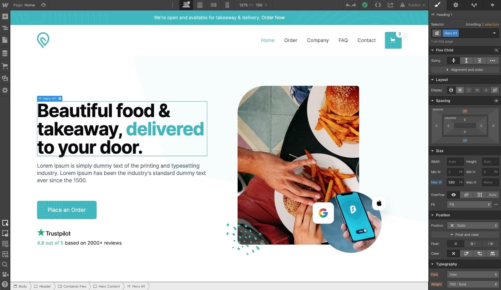 Webflow's website editor in use