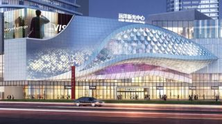 The LED display technology is transparent, allowing those inside the mall to see outside to the street.