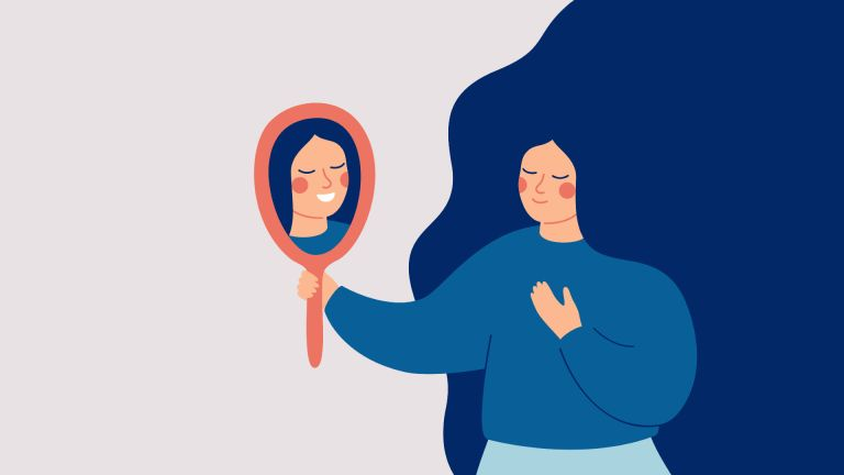 Illustration of woman looking in the mirror