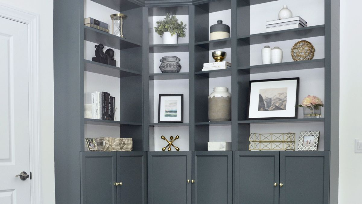 This IKEA cabinet makeover has transformed an awkward corner into a chic home office