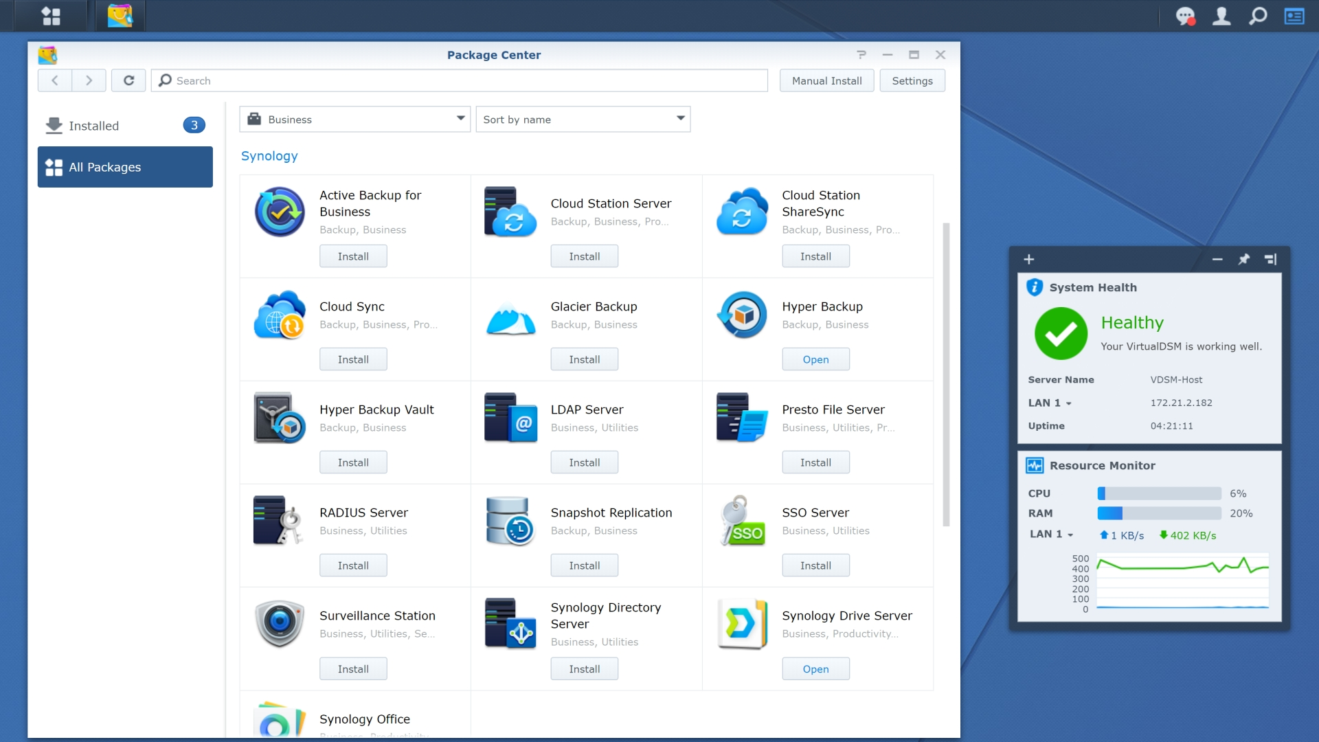 Synology NAS app store