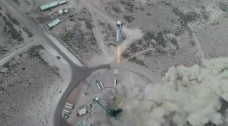 Blue Origin's New Shepard rocket launches the crew capsule RSS First Step on an uncrewed suborbital test flight from the company's Launch Site One in West Texas on April 14, 2021.