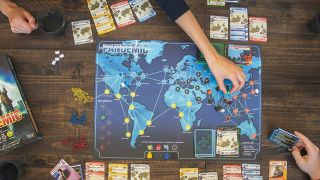 Pandemic board games in play
