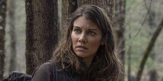 lauren cohan's maggie giving negan a look on the walking dead season 11