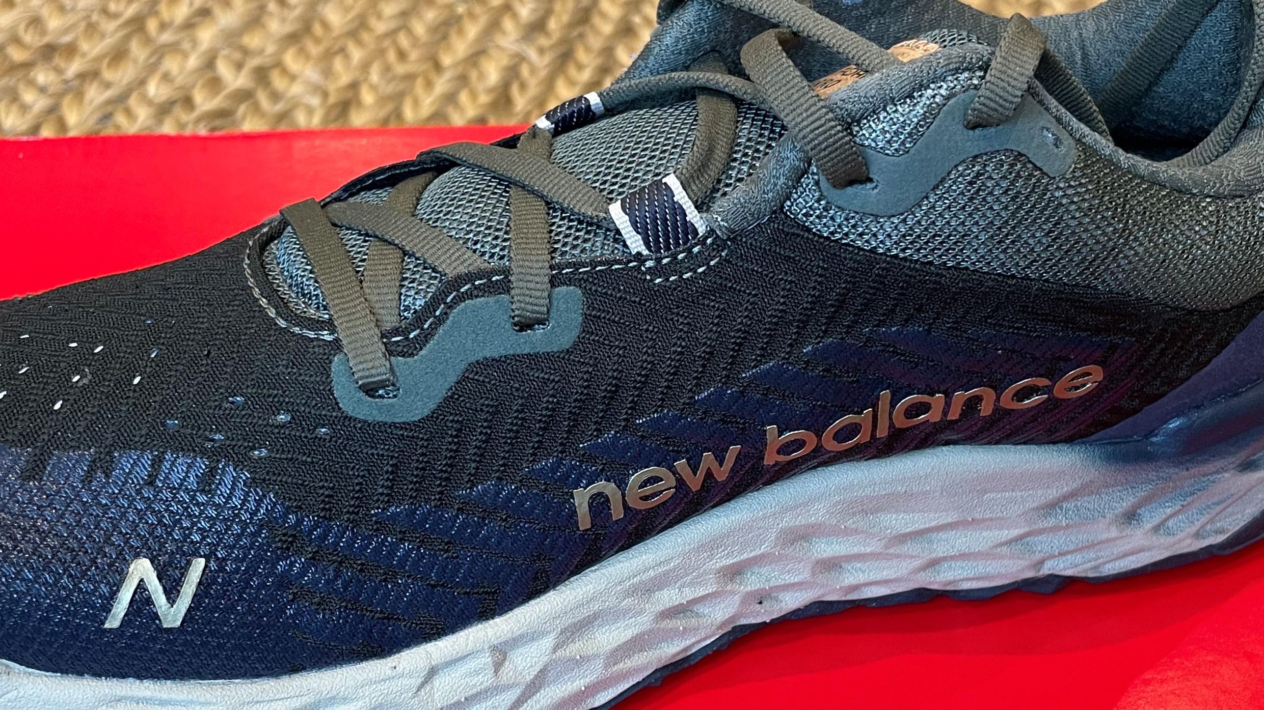 Close up of the branding on a New Balance Fresh Foam Hierro v6 shoe