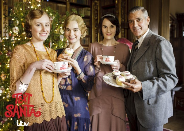 George Clooney with Laura Carmichael, Lily James and Michelle Dockery