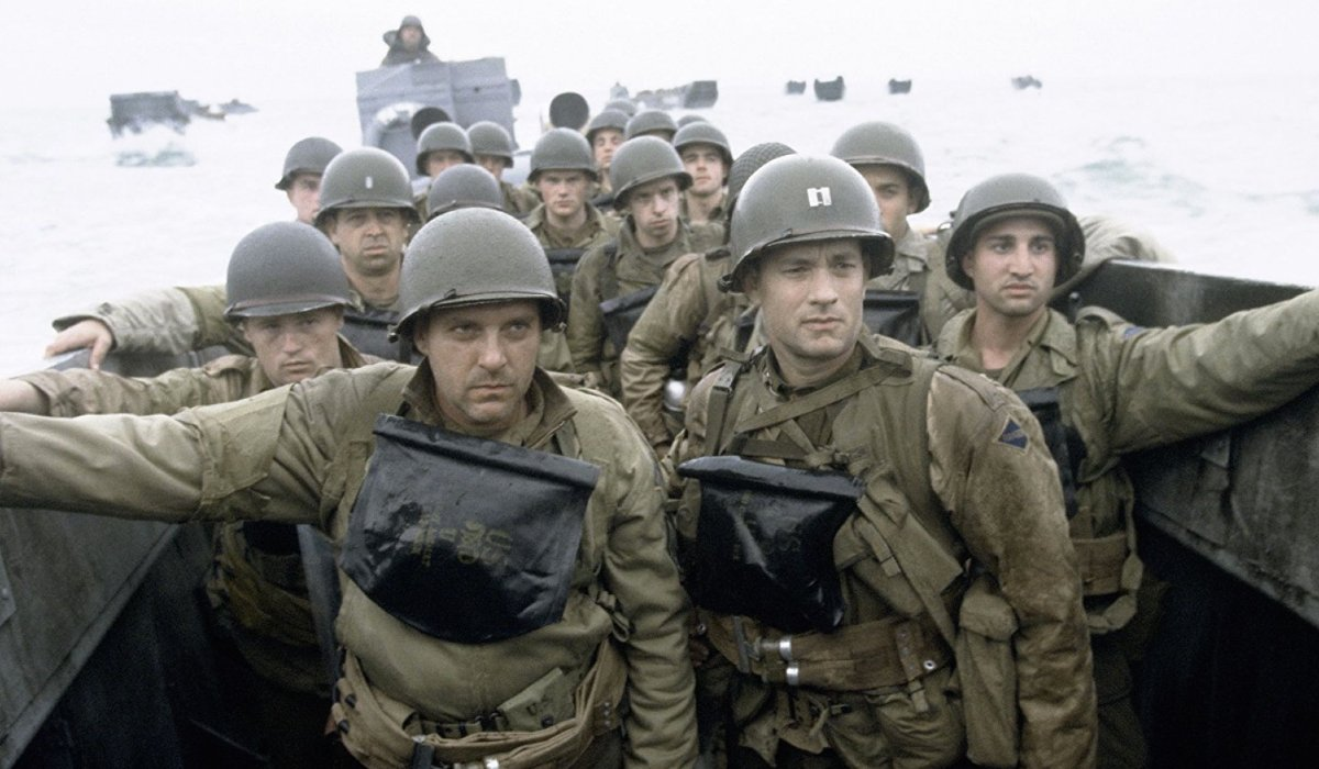 Saving Private Ryan Tom Sizemore and Tom Hanks await the start of D-Day