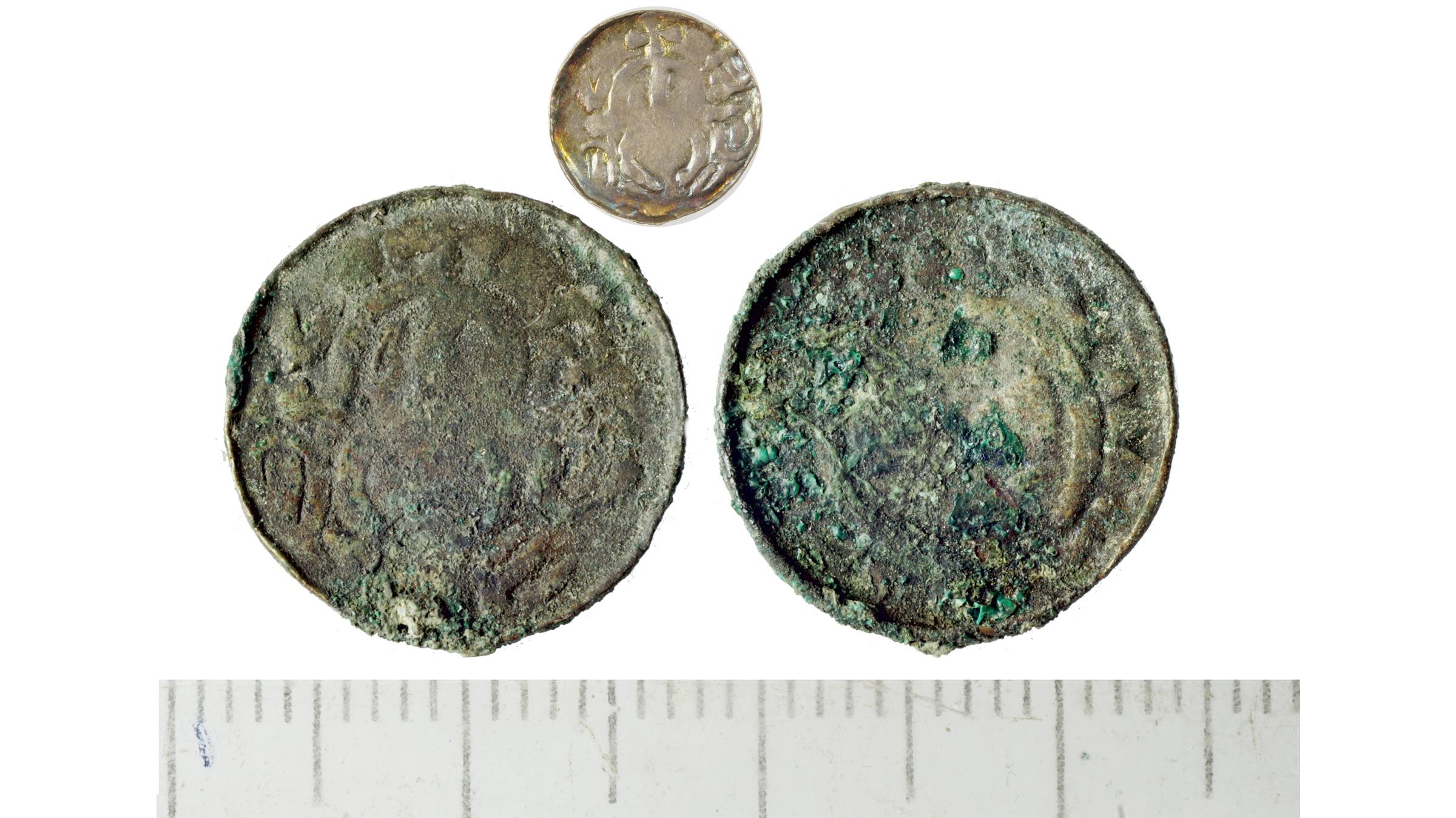 A denarius (silver coin) of Sieciech, a high-ranking Polish statesman, dated to 1095-1100.