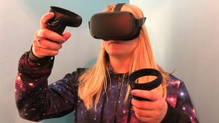 A photo of Becca with the Oculus Quest