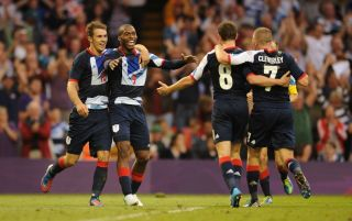 The Team GB men's side celebrate at the 2012 Olympics