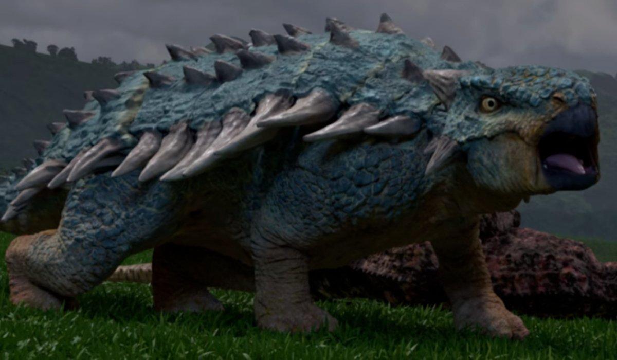 Bumpy the ankylosaurus roars in Jurassic World: Camp Cretacious.