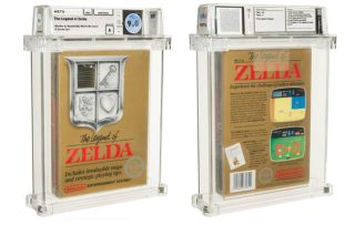 A front and back shot of the rare sealed game cartridge carefully displayed in a clear plastic box for safe keeping