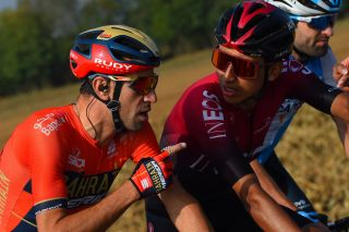 Bahrain-Merida's Vincenzo Nibali offers Tour de France winner Egan Bernal (Team Ineos) some advice during the 2019 Il Lombardia