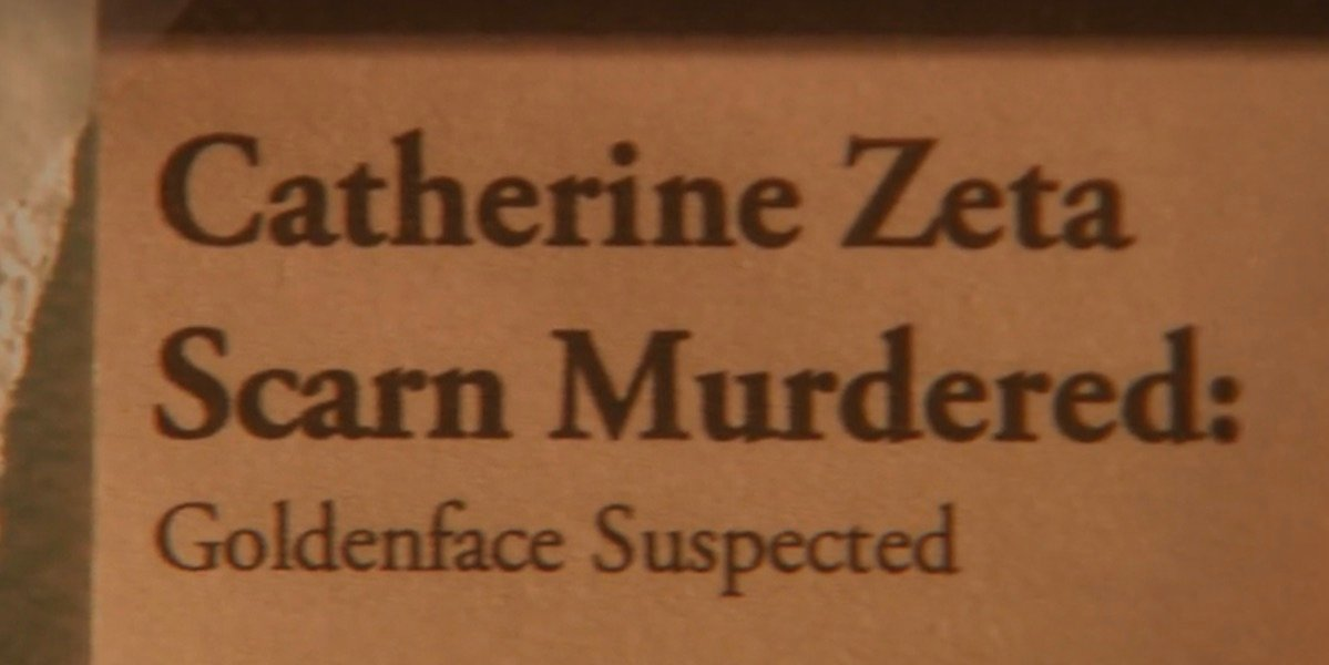 Catherine Zeta Scarn Headline news clipping from The Office's Threat Level Midnight