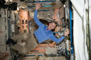 NASA astronaut Peggy Whitson floats through the Unity module aboard the International Space Station during the Expedition 50 mission in this photo taken on November 28, 2016.