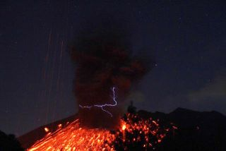 Volcanic eruptions, like this one at Sakurajima volcano in Japan, generate amazing displays of lightning.