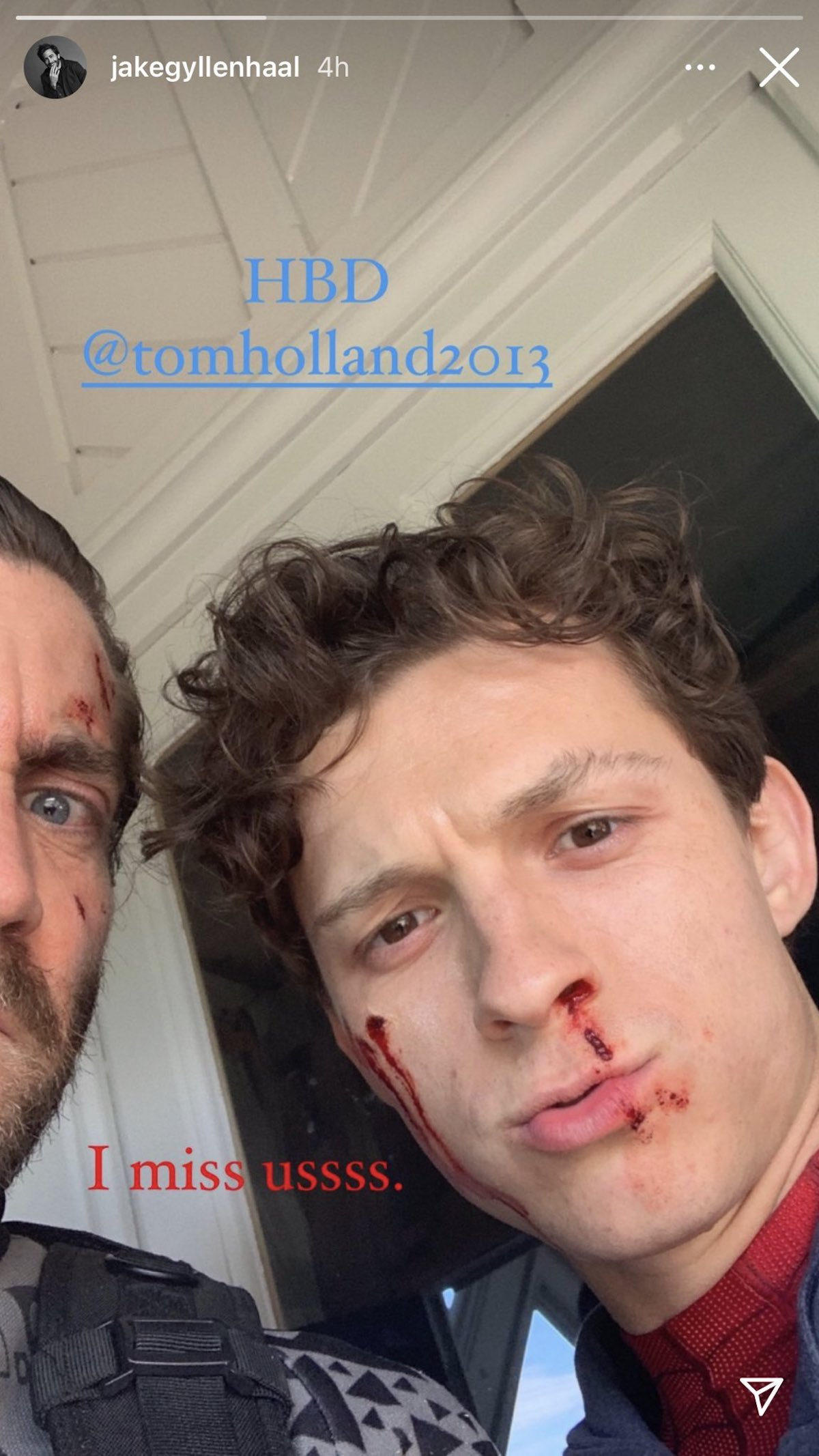 Jake Gyllenhaal and Tom Holland Spider-Man: Far From Home selfie