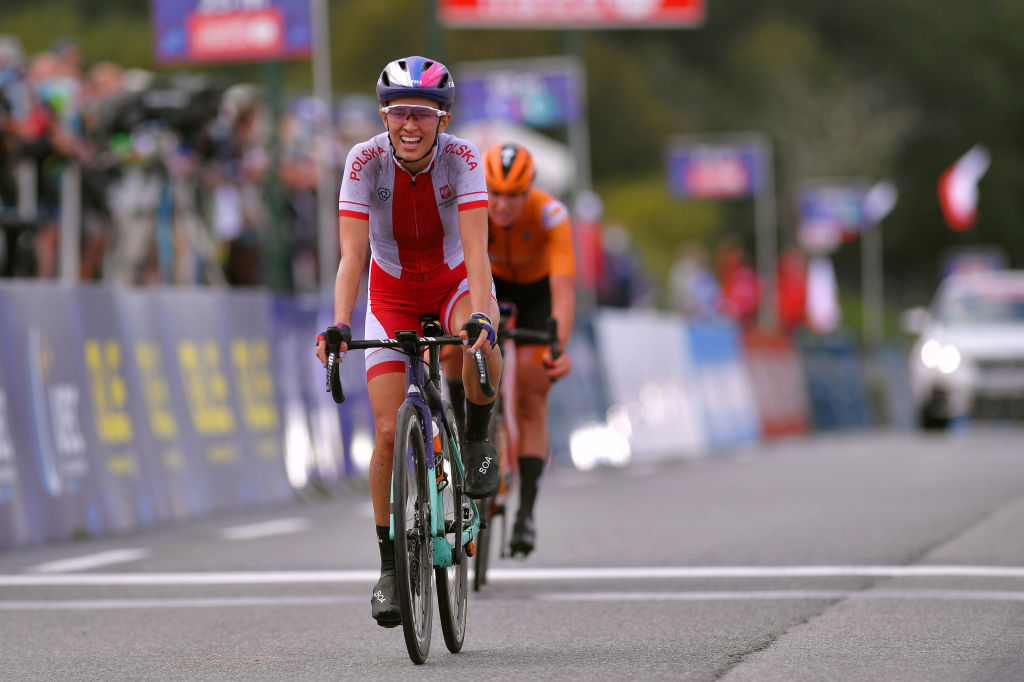 PLOUAY FRANCE AUGUST 27 Arrival Katarzyna Niewiadoma of Poland Chantal Van Den Broek Blaak of The Netherlands during the 26th UEC Road European Championships 2020 Womens Elite Road Race a 1092km race from Plouay to Plouay GrandPrixPlouay GPPlouay on August 27 2020 in Plouay France Photo by Luc ClaessenGetty Images