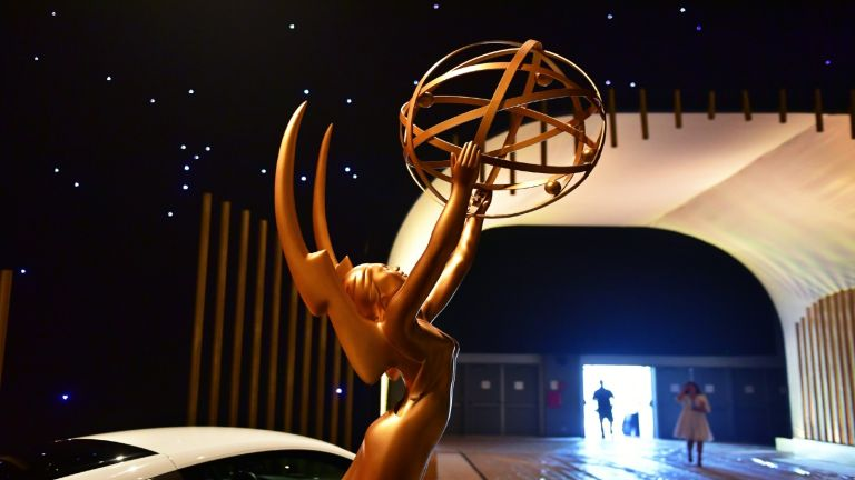 A statue of the Emmys 2021 Award seen upon entry on display at the 2017 Emmy Awards Governors Ball press preview on September 7, 2017, in Los Angeles, California, ahead of the 69th annual Emmy Awards.