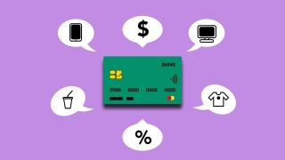 Payment card surrounded by symbols of different purchases
