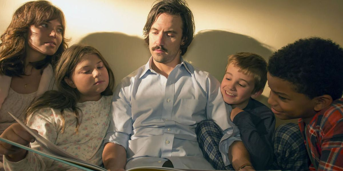 Jack Pearson with his children in This Is Us.