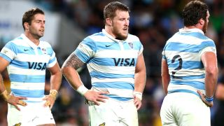 Argentina rugby forwards with hands on hips