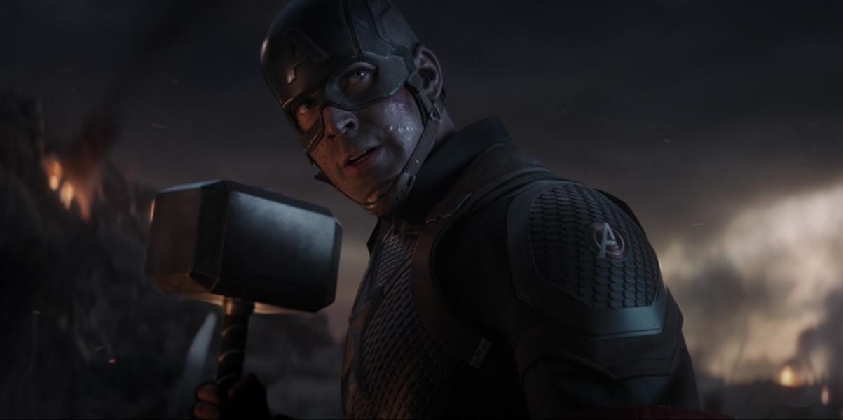 Captain America wields Thor's Hammer in Avengers: Endgame