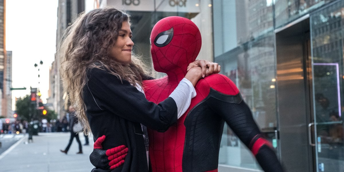 Zendaya as MJ and Tom Holland in Spider-Man suit at the end of Spider-Man: Far From Home