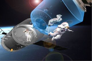 An artist's illustration of Chinese astronauts spacewalking outside their Shenzhou spacecraft. Future Shenzhou missions will feature spacewalks ahead of orbital rendezvous and docking demonstrations.
