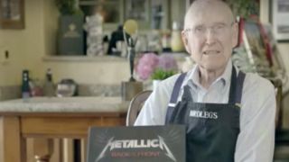 A picture of Ray Burton with his copy of Metallica: Back To The Front