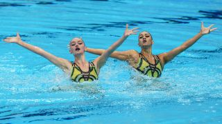 Team USA Swimming: Anita Alvarez and Lindi Schroeder of Team United States compete in Artistic/Synchronized Swimming